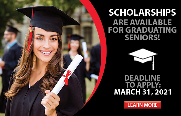 Scholarships are available for graduating seniors. Click here for more information and to apply!